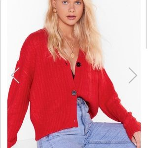 Nasty gal size small red cardigan